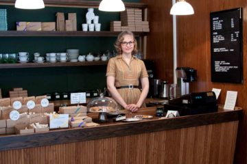 A barista at Parlans Fika in Stockholm, Sweden