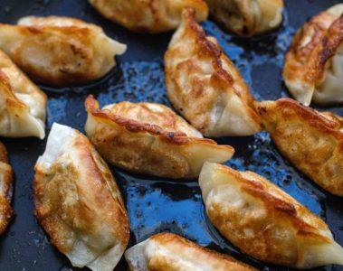 Korean dumplings at Kensington Market in Toronto, Canada