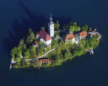 Island on Lake Bled, Slovenia