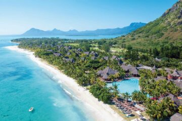 Dinarobin Beachcomber Resort & Spa, Mauritius birds eye view of its amazing beach
