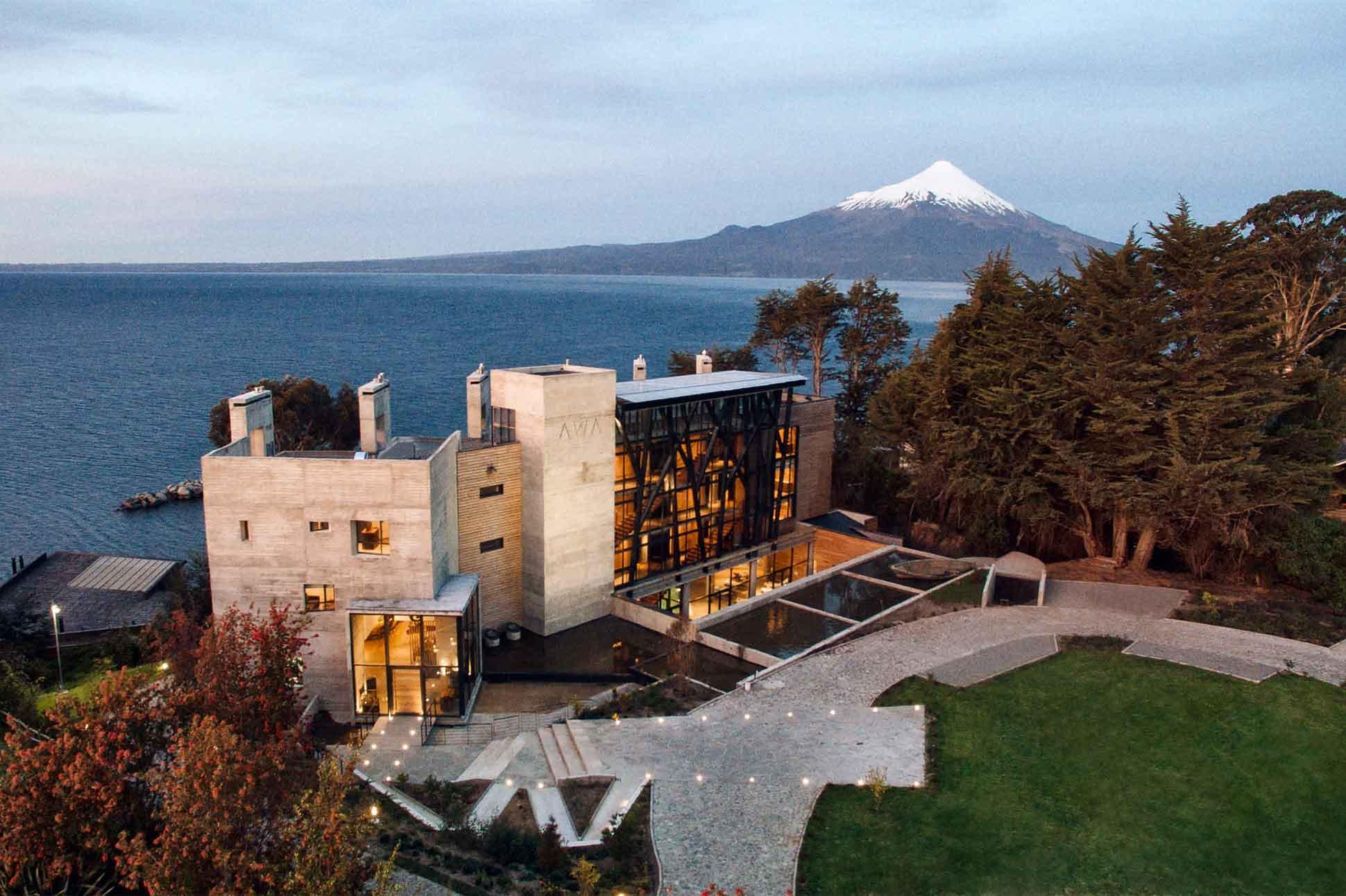 Aerial view of Hotel AWA, Puerto Varas, Chile
