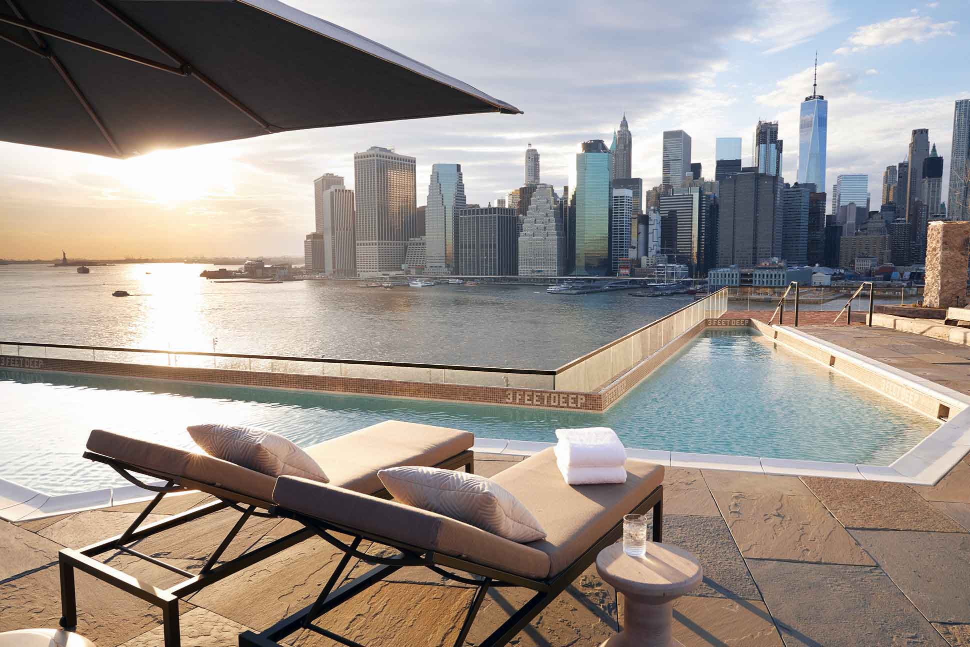 1 Hotel Brooklyn Bridge New York NYC pool deck and view