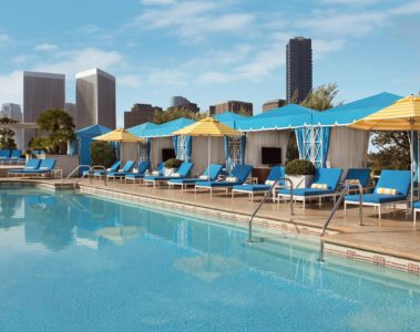 The private cabana pool experience at the Peninsula Beverly Hills, LA, California, USA