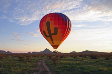 Hot air balloon above Scottsdale, Arizona, USA