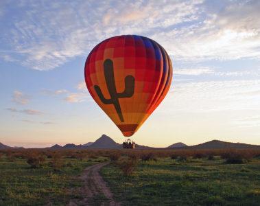 Hot air balloon above Scottsdale, Arizona, USA