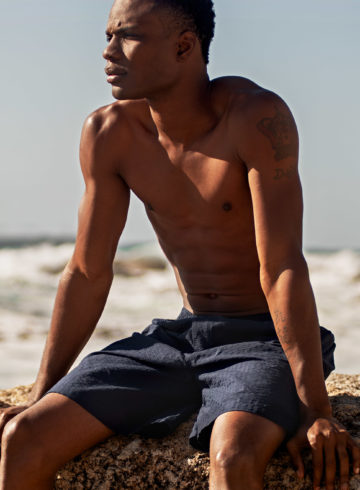 Navy seersucker PJ shorts by Brooks Brothers, shot in Bantry Bay, Cape Town, South Africa
