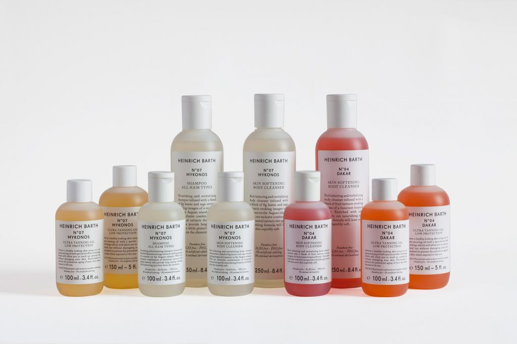 No. 07 Mykonos from HEINRICH BARTH are Paraben free without any artificial colouring. Available products come in travel size: Skin softening body cleanser, shampoo for all hair types and ultra-tanning oil.