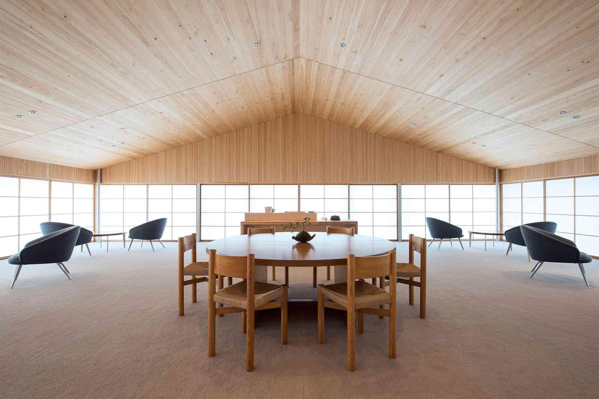 A dining table aboard guntû, Japan