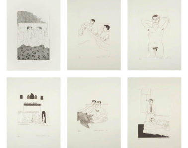 Illustrations for 14 poems by CP Cavafy by David Hockney showing at the Zebra One Gallery London