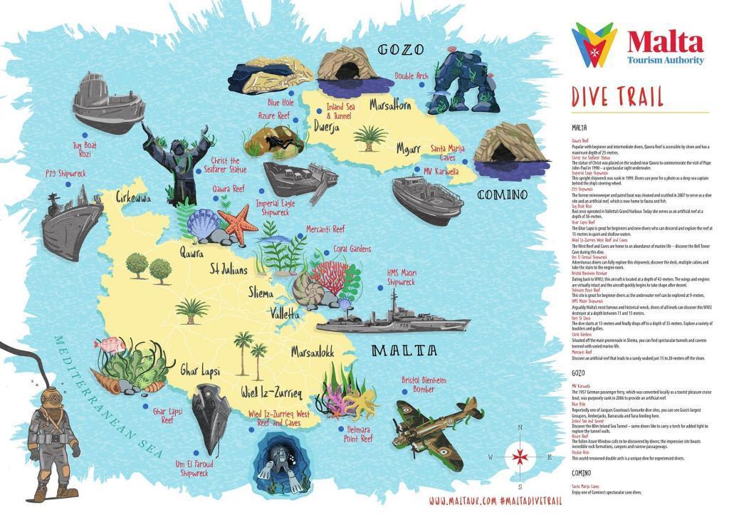 Malta diving map