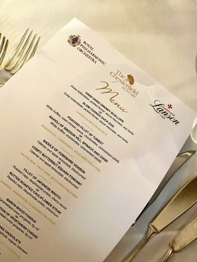 Menu of the Chesterfield Mayfair and Royal Philharmonic collaboration