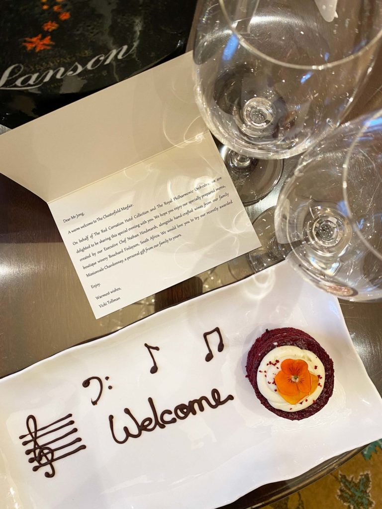 Welcome amenity in room at The Chesterfield Mayfair and Royal Philharmonic collaboration