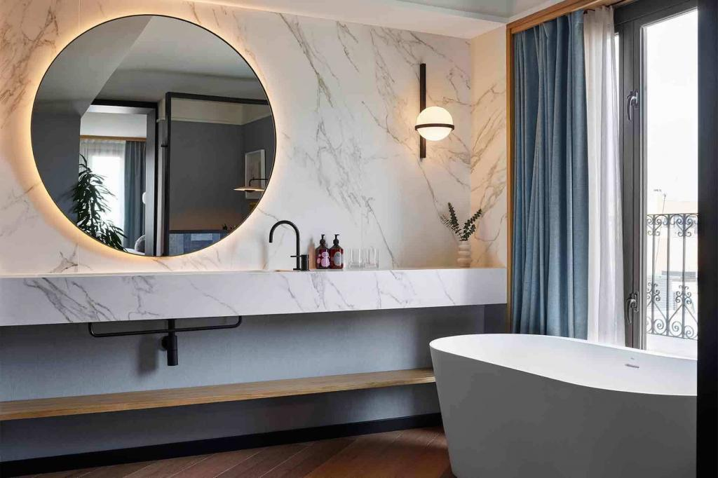 A bathroom at the Kimpton Vividora Hotel, Barcelona, Spain