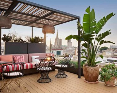 The rooftop terrace restaurant at the Kimpton Vividora Hotel, Barcelona, Spain