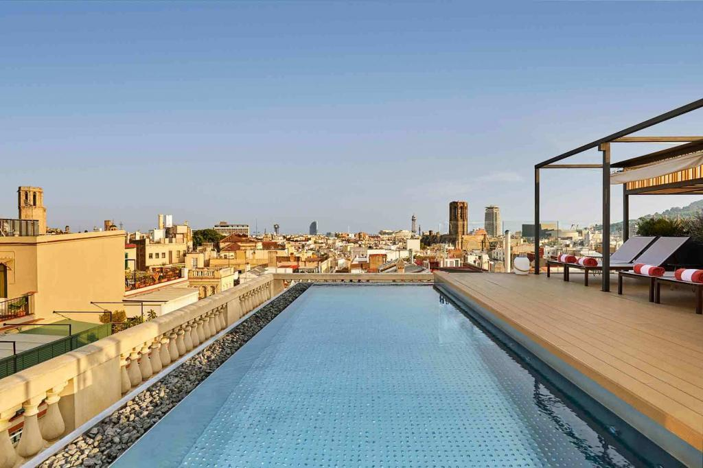 The rooftop pool at the Kimpton Vividora Hotel, Barcelona, Spain