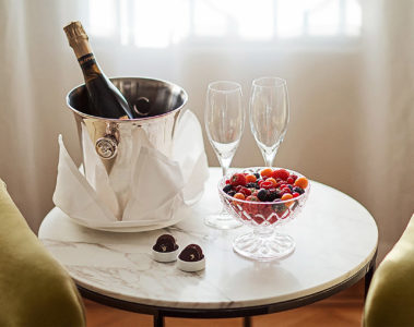 The Indulgence Gold Package at the Diplomat Hotel in Stockholm, Sweden, is a romantic treat.