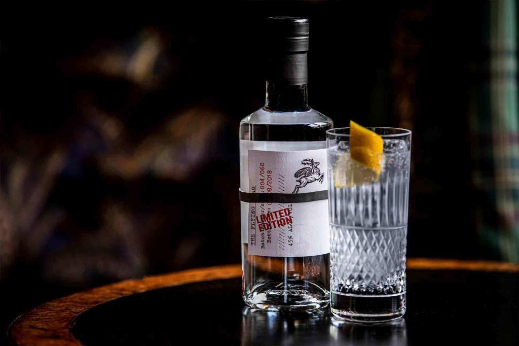 A bottle of Flying Stag gin, available from The online shop of The Fife Arms, Braemar, Scotland