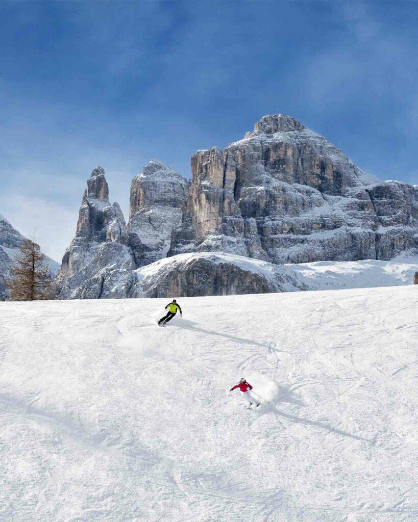 Skiing in Alta Badia, Italy
