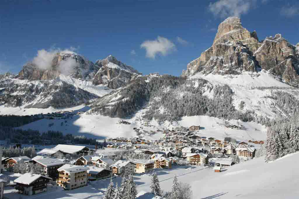 View over Corvara by Freddy Planinscheck, Hotel Sassongher, Alta Badia, Italy