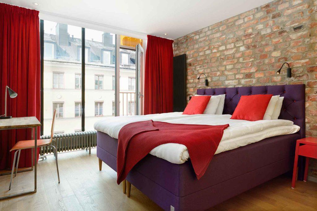 Bedroom at Hellsten Glashus, Stockholm, Sweden