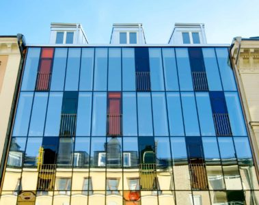 Exterior view of Hellsten Glashus, Stockholm, Sweden