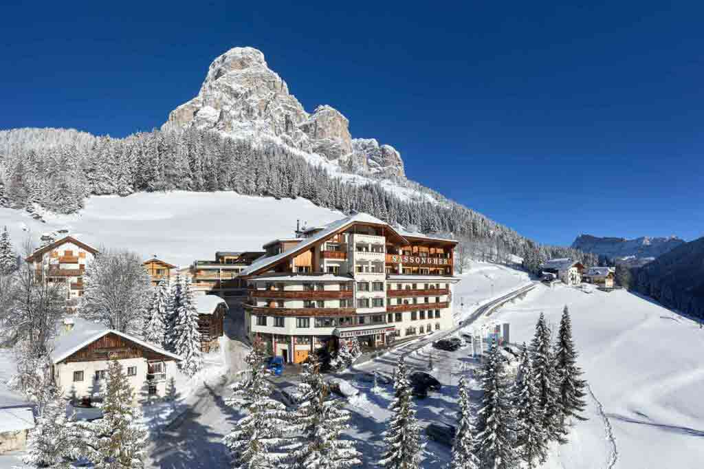 Exterior view of Hotel Sassongher, Alta Badia, Italy
