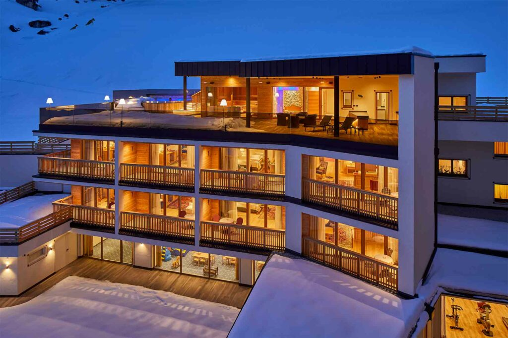 Exterior of Hotel Sassongher, Alta Badia, Italy, at night