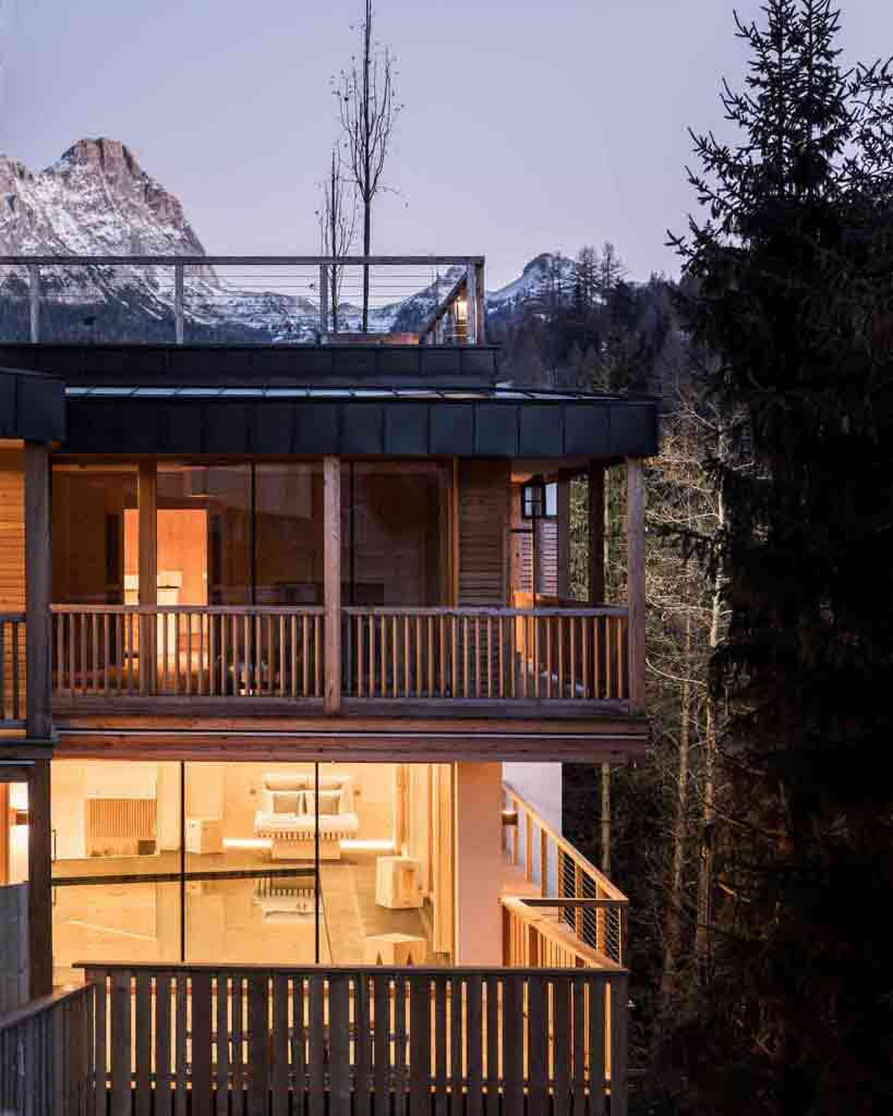 Exterior of adults-only spa at Rosa Alpina, Alta Badia, Italy