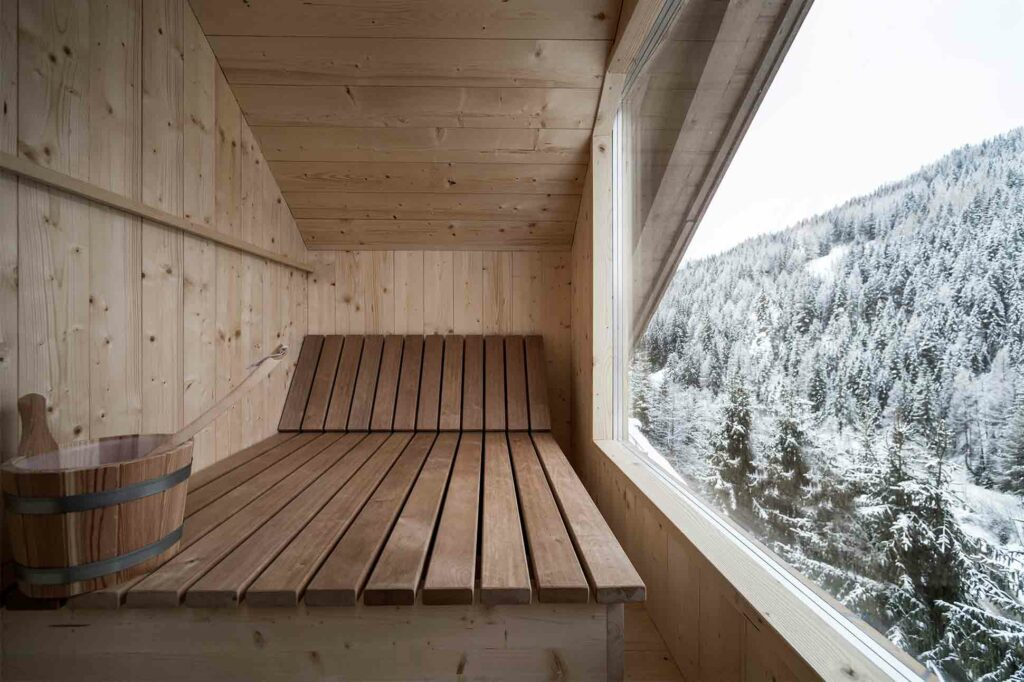 Finnish sauna at the Rosa Alpina, Alta Badia, Italy