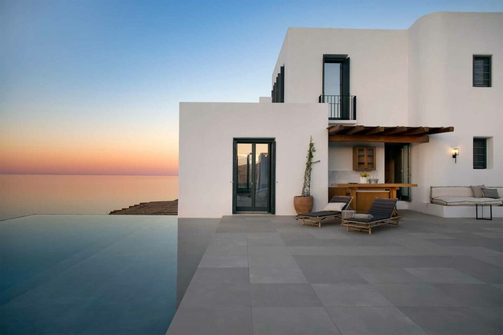 Sun sets over a Villa part of the Five Star Greece collection
