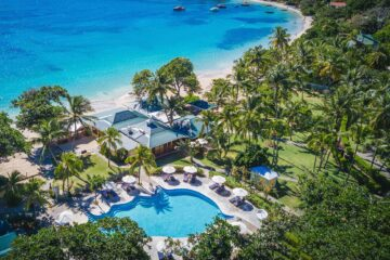 Aerial view of Bequia Beach Hotel, Belmont, Bequia, Saint Vincent and the Grenadines