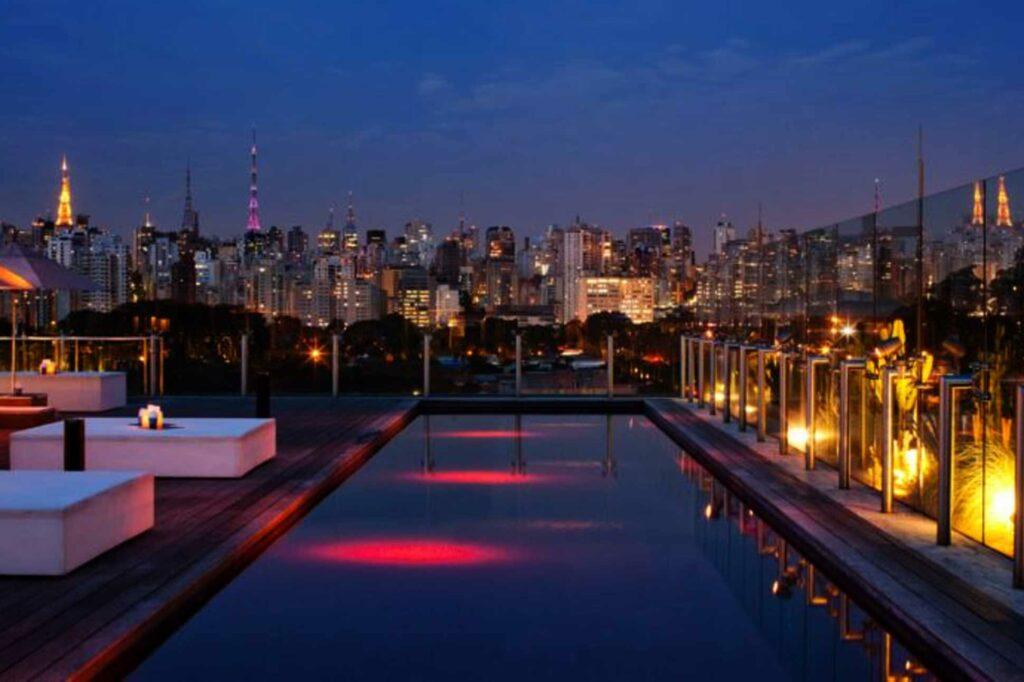 Hotel Unique Sao Paulo rooftop by night