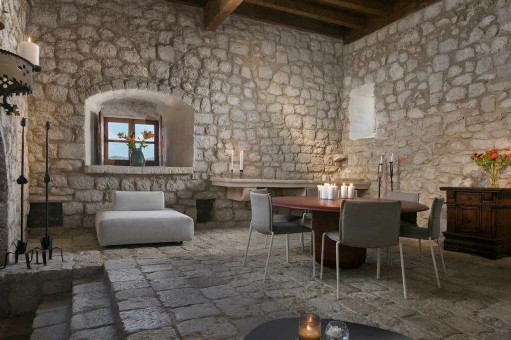 Lopud 1483 private island Croatia interiors