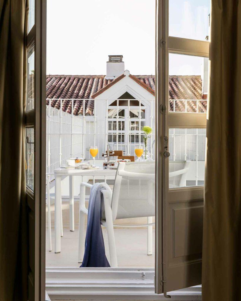 On-suite breakfast at the Palacio de los Duques Gran Melia, Madrid, Spain
