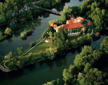 Aerial view of The Grad Otočec, Otočec, Slovenia