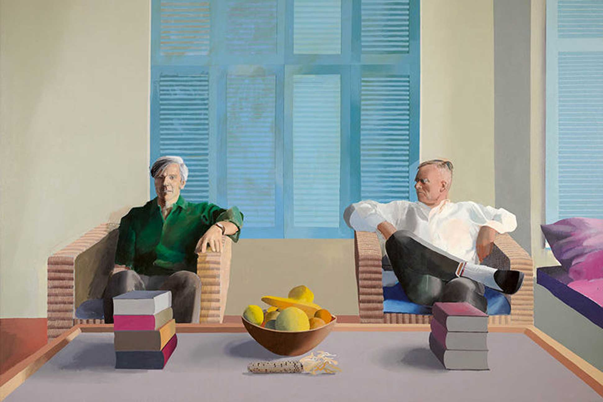 Photo of David Hockney's painting of Christopher Isherwood and Don Bachardy