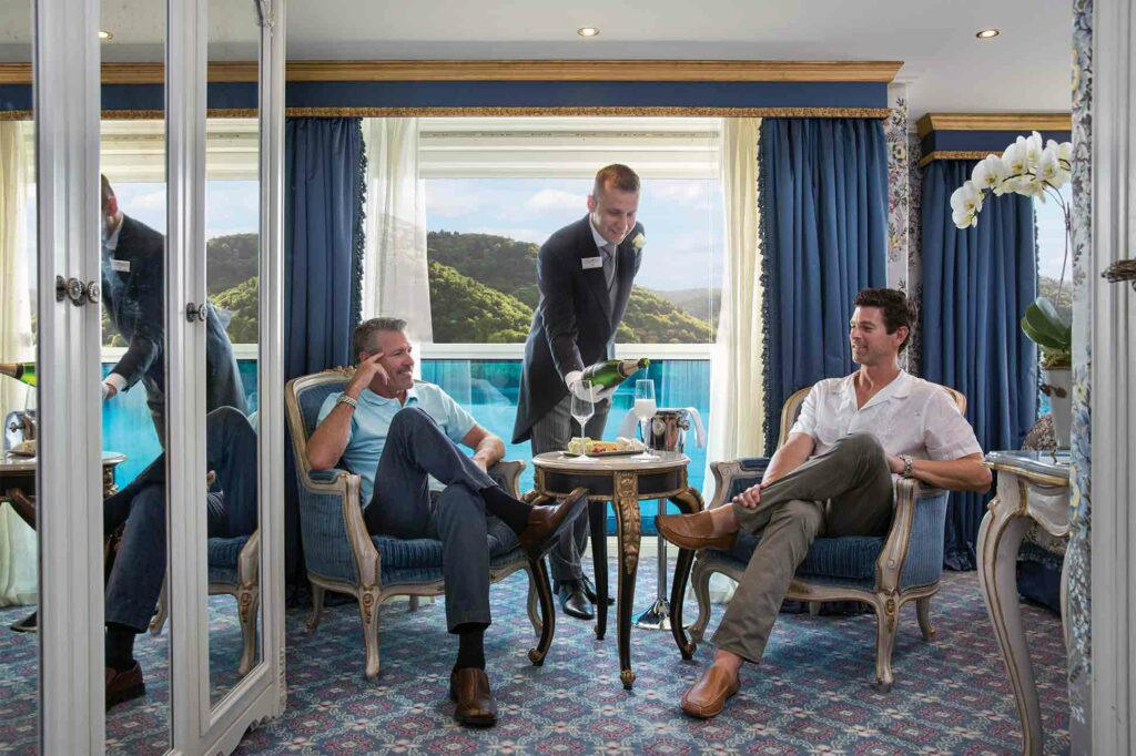 Gay couple aboard Uniworld cruise ship