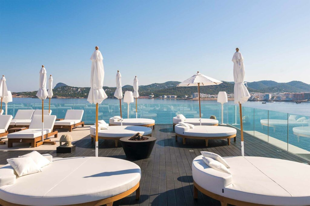 Sunbathing beds at Amàre Beach Hotel, Ibiza, Spain