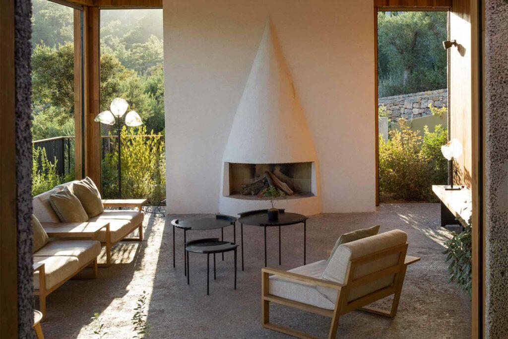 A fireplace at Bodrum Loft, Turkey