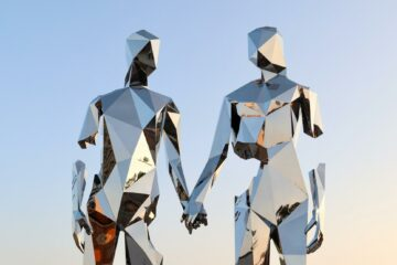 Couple artwork at Burning Man, Black Rock City, Nevada, USA