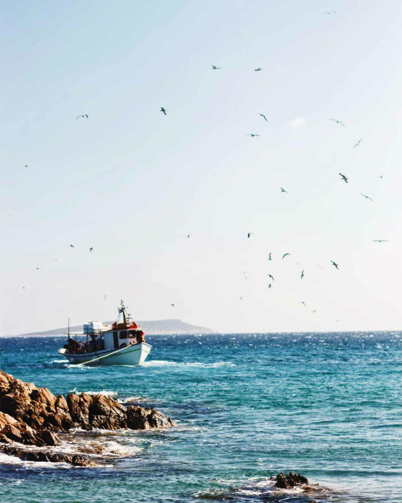Approaching the Greek islands by boat