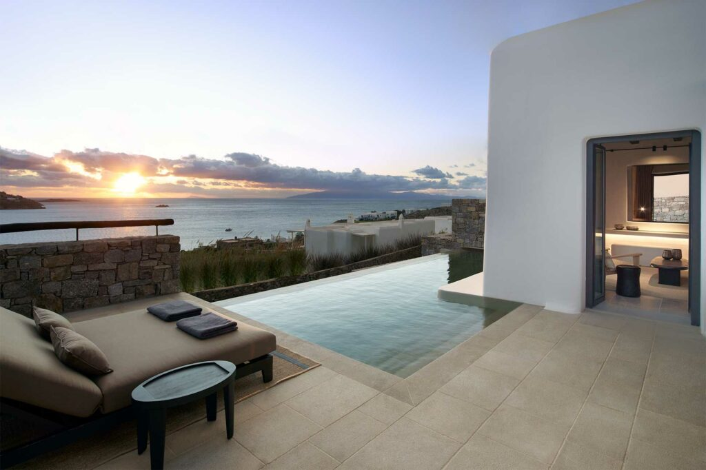 Private pool with a view at Kalesma, Mykonos, Greece