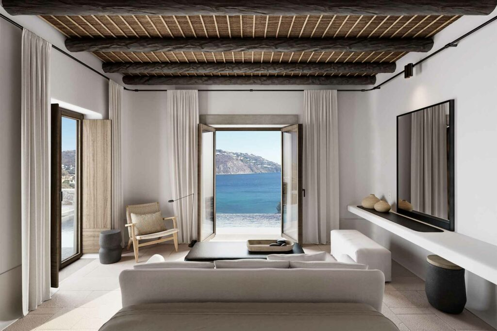 Bedroom with a view at Kalesma, Mykonos, Greece