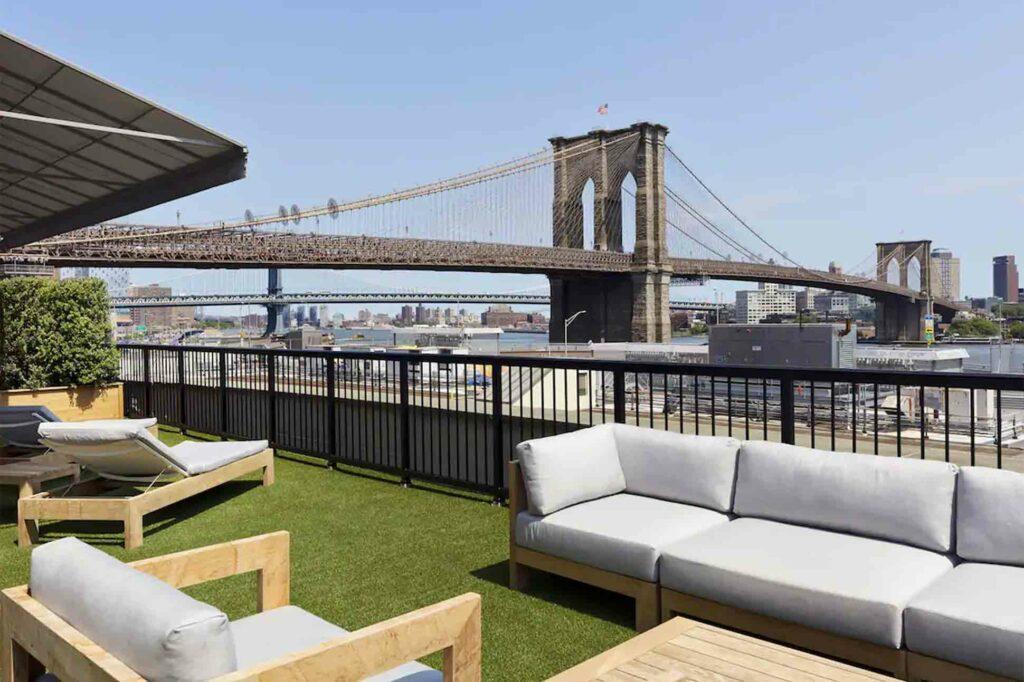 Mr C Seaport New York City NYC view of Brooklyn Bridge