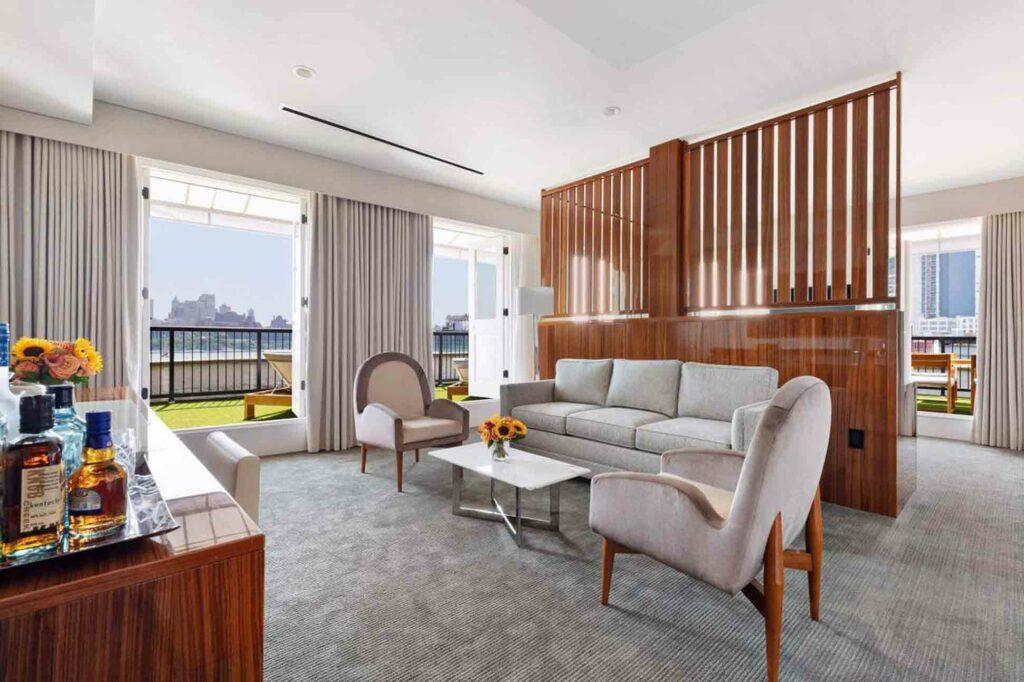 Mr C Seaport New York City NYC suite living room