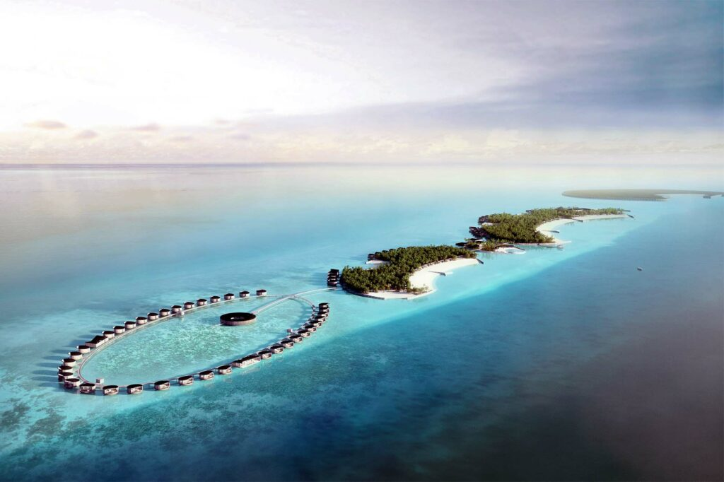 Aerial view of The Ritz-Carlton Fari Islands, Maldives