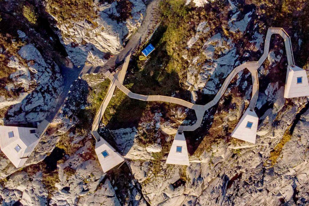 Aerial of Flokehyttene, Norway designer cabins