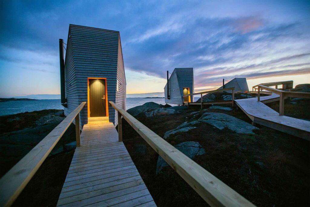 Walking up to Flokehyttene, Norway designer cabins