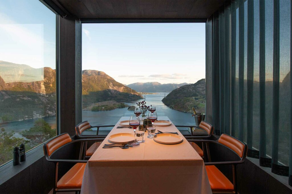 Dinner views at The Bolder Sky Lodges, Forsand, Norway