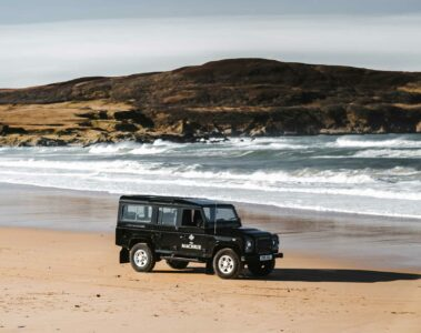 Land Rover en route to The Machrie, Isle of Islay, Scotland